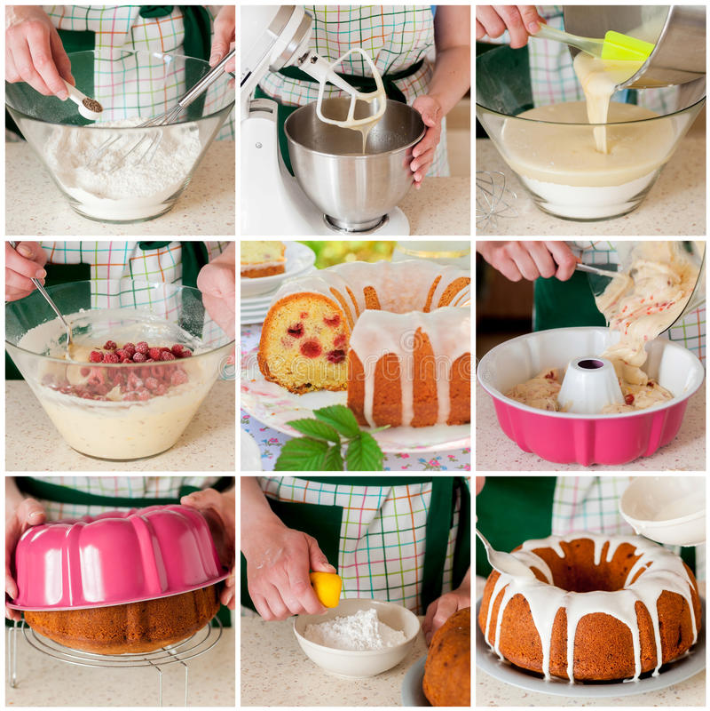 Un collage étape-par-étape de faire le gâteau de framboise, de citron et de cumin image libre de droits