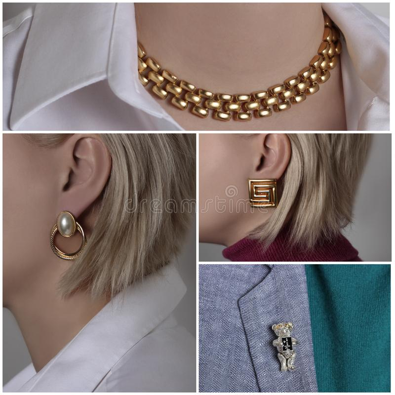 Un collage che consiste di 4 foto che descrivono i gioielli che mostrano una donna sotto forma di collana dorata, di orecchini e  fotografia stock libera da diritti