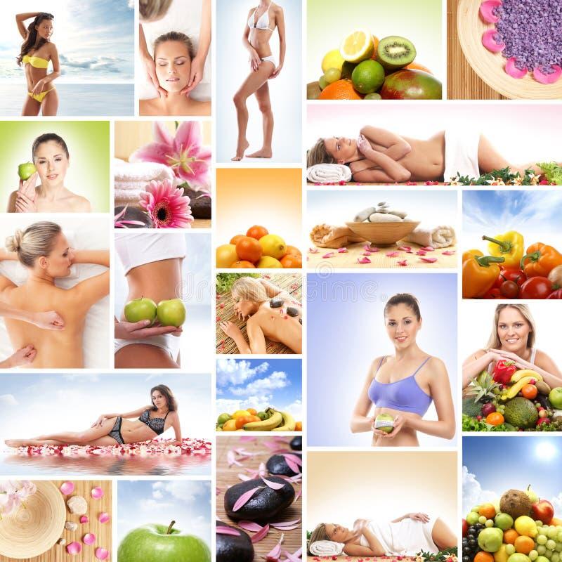 Un collage de imágenes con las frutas frescas y las mujeres de relajación foto de archivo