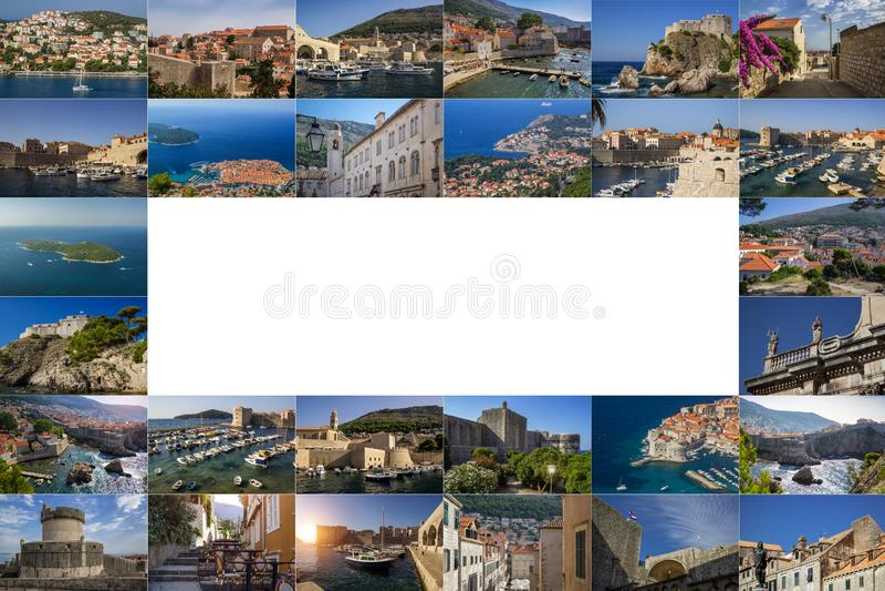 Un collage de las fotos de la ciudad de Dubrovnik Croacia stock de ilustración