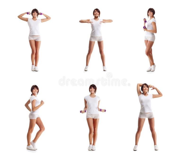 Un collage de las mujeres jovenes que hacen entrenamiento con pesas de gimnasia imagen de archivo