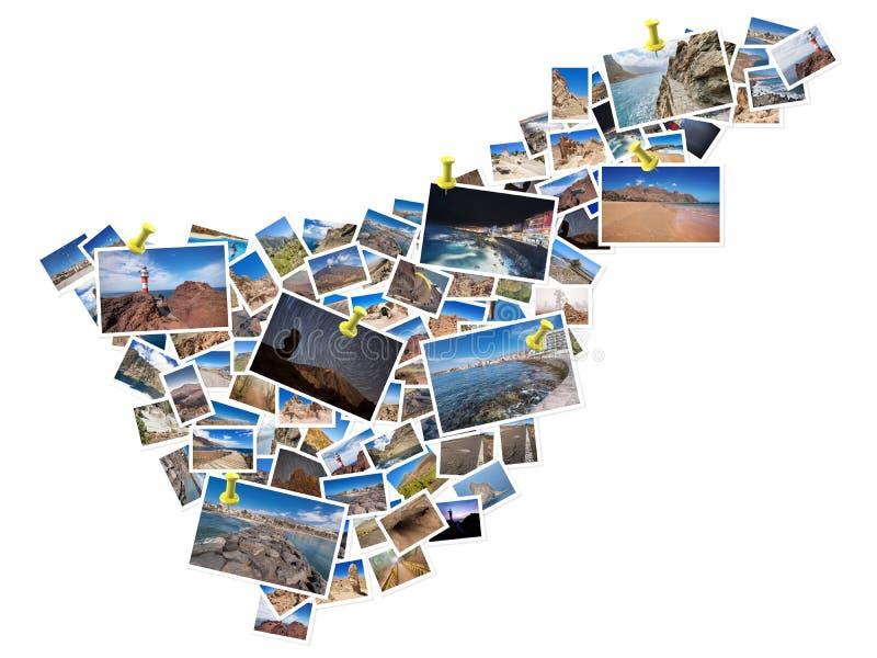 Un collage de mes meilleures photos de voyage de Ténérife, formant la forme de l'île de Ténérife image stock