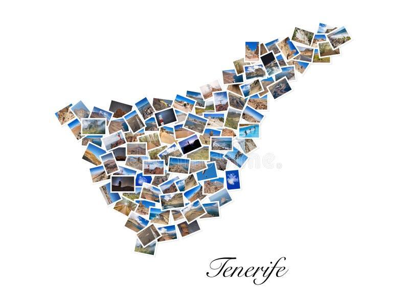 Un collage de mes meilleures photos de voyage de Ténérife, formant la forme de l'île de Ténérife, version 2 photos libres de droits