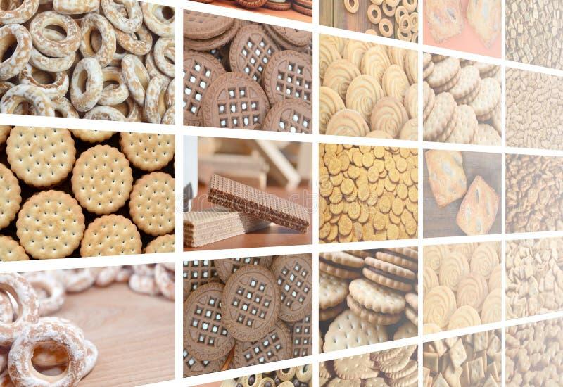 Un collage de muchas imágenes con el diverso primer de los dulces Un sistema o stock de ilustración