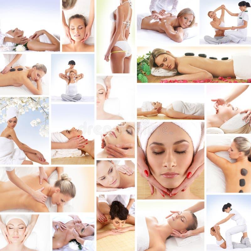 Un collage de mujeres jovenes en procedimientos del balneario imagen de archivo