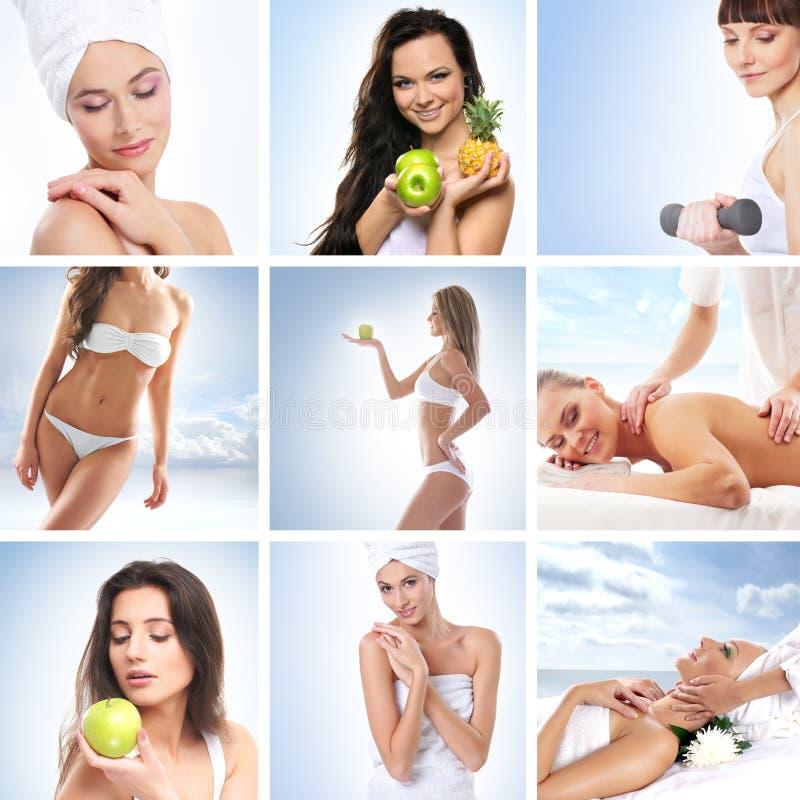 Un collage de mujeres jovenes en procedimientos del balneario imagen de archivo libre de regalías