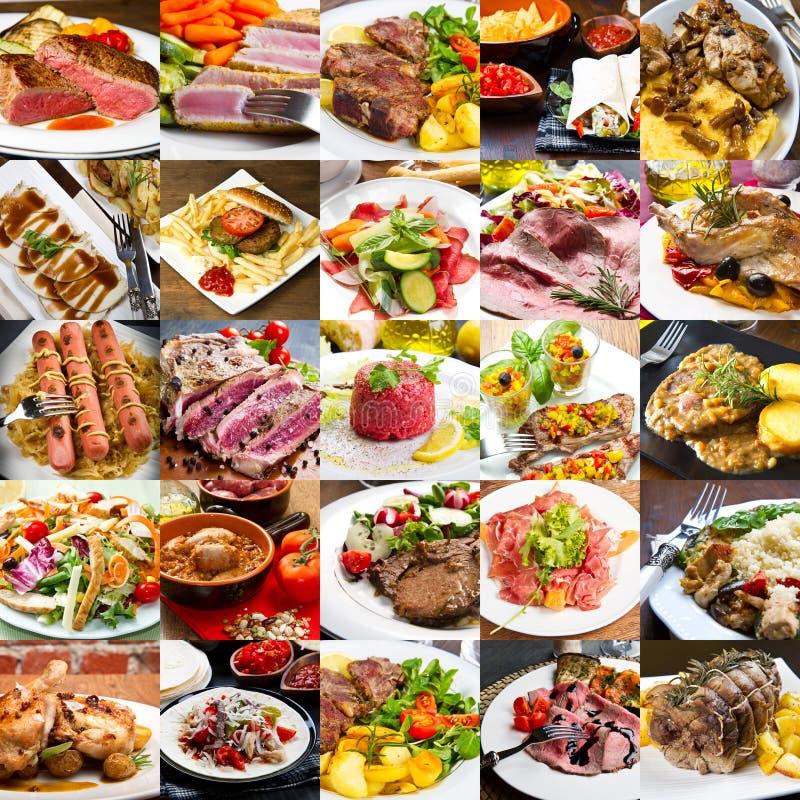 Un collage de photo des plats de viande de cuisine internationale photo libre de droits