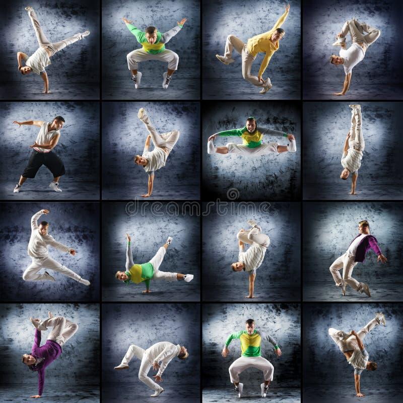 Un collage degli uomini di dancing in vestiti sportivi immagini stock libere da diritti
