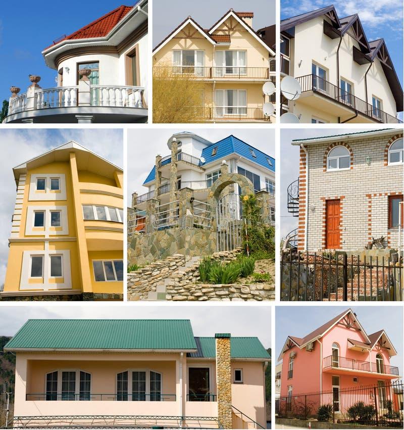 Un collage del bene immobile degli otto cottage fotografia stock