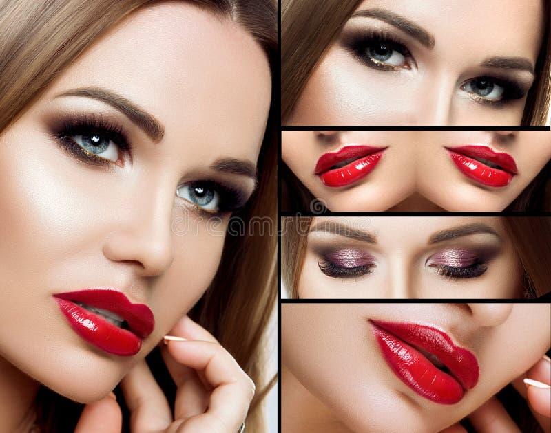 Un collage del maquillaje Ojos ahumados hermosos, labios regordetes rojos, pestañas largas Primer de la cara del retrato, maquill fotografía de archivo libre de regalías