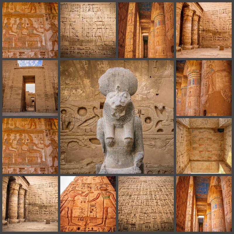 Un collage del templo antiguo hermoso de las fotos de Medina-Habu Egipto, Luxor imagen de archivo