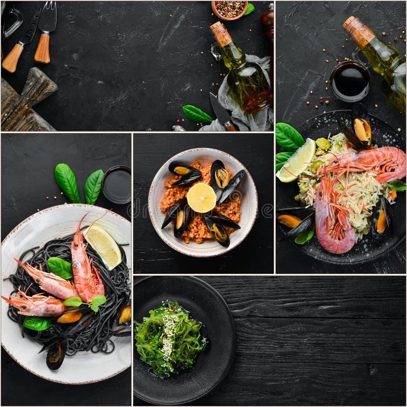 Un collage della foto dei piatti dei frutti di mare fotografia stock