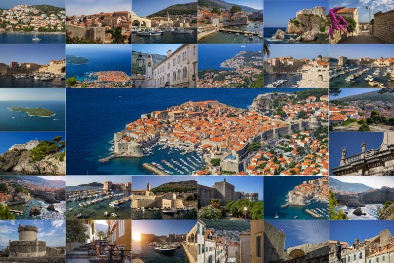 Un collage delle foto della città di Ragusa La Croazia fotografia stock