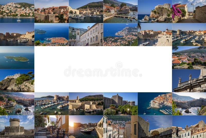 Un collage delle foto della città di Ragusa La Croazia illustrazione di stock