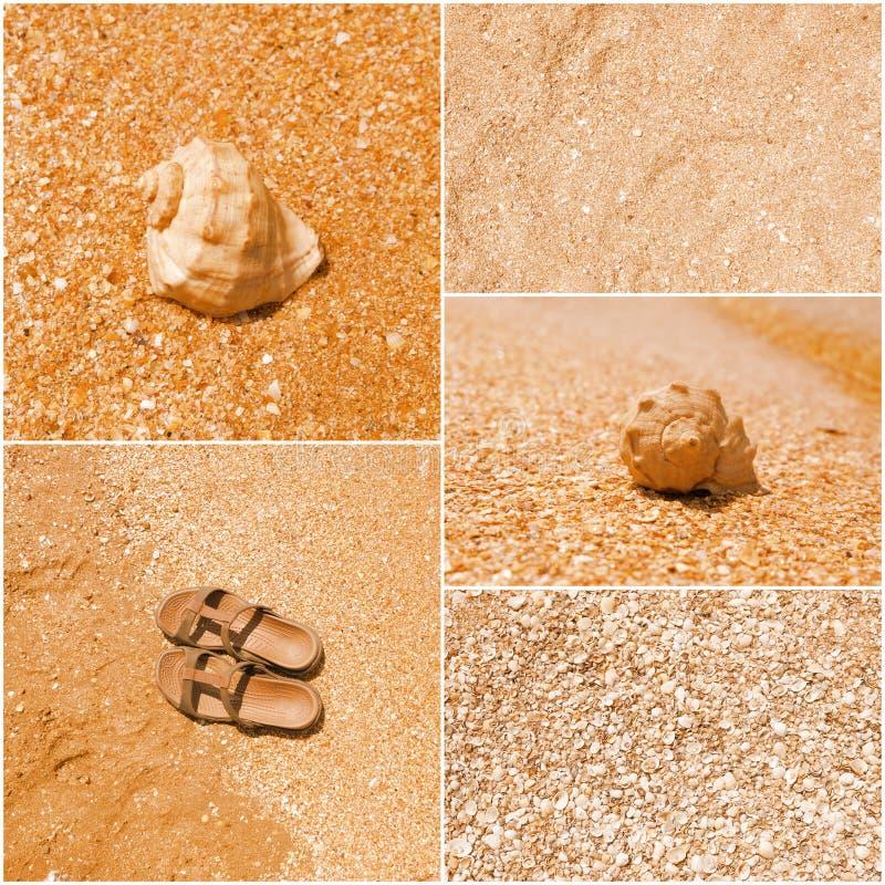 Un collage delle immagini tonificate di molti tira gli oggetti in secco - i flip-flop, le coperture, la sabbia, acqua di mare immagine stock