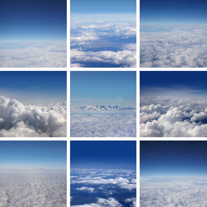 Un collage des images avec le beau ciel bleu image stock