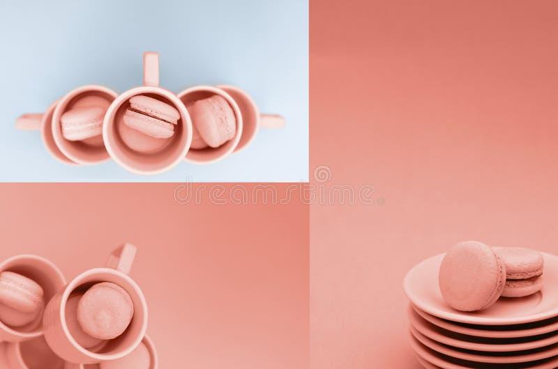 Un collage des photos de couleur de corail avec des macarons images stock