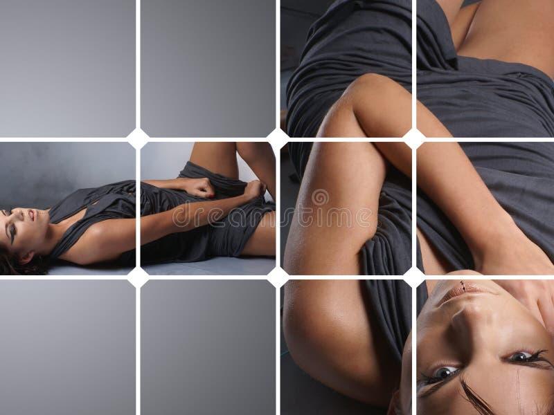 Un collage di due immagini con una giovane donna immagine stock libera da diritti