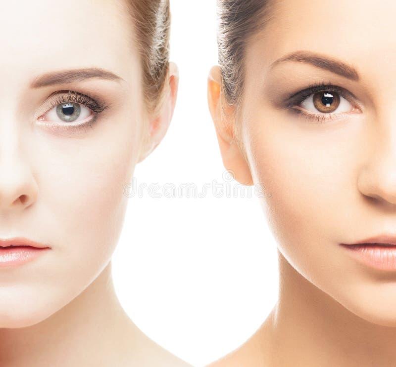 Un collage di due ritratti della femmina della stazione termale immagini stock