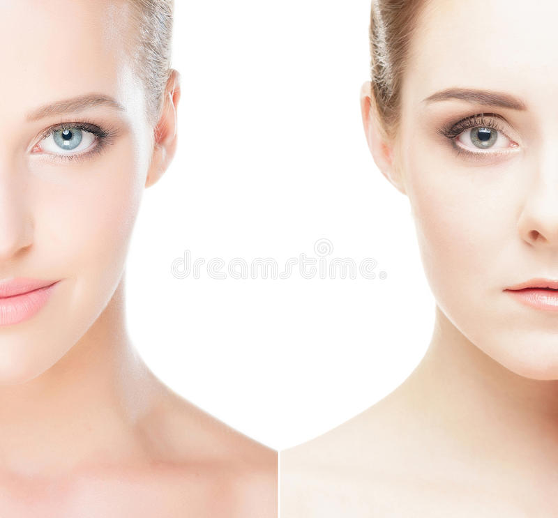 Un collage di due ritratti della femmina della stazione termale fotografia stock libera da diritti