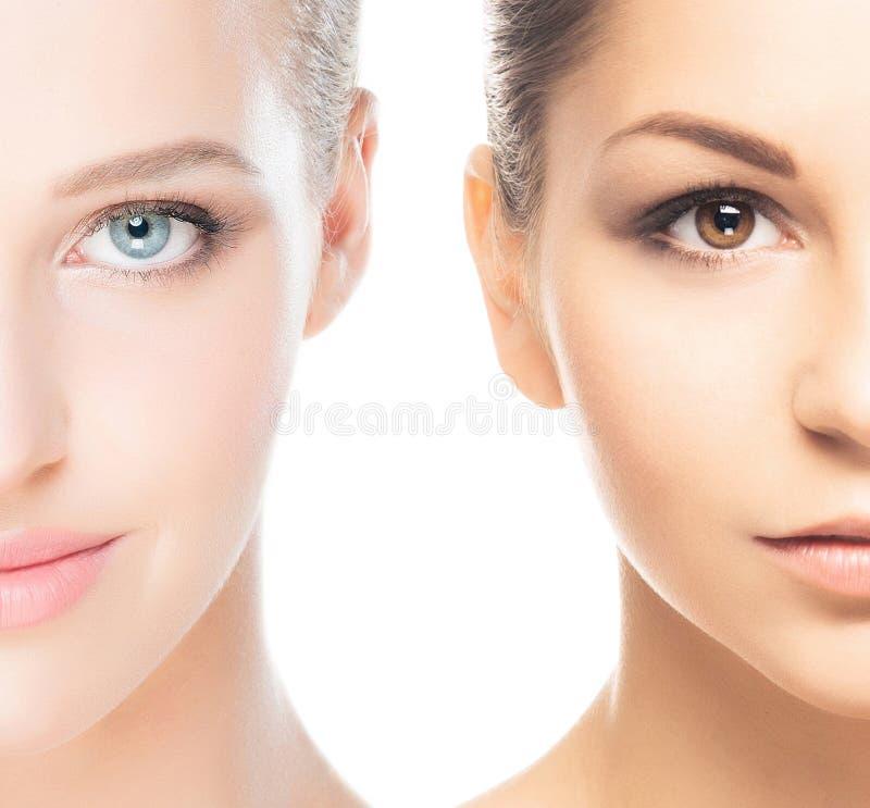 Un collage di due ritratti della femmina della stazione termale immagine stock