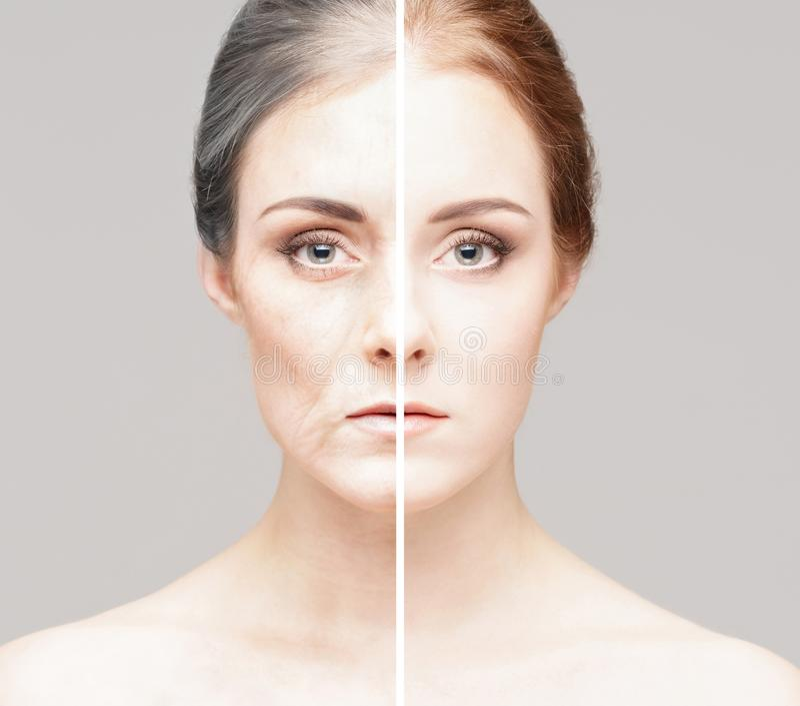 Un collage di due ritratti della stesse donna anziana e ragazza immagine stock libera da diritti