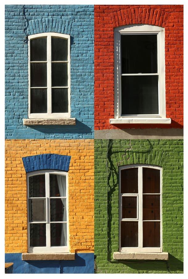 Un collage di 4 finestre fotografia stock