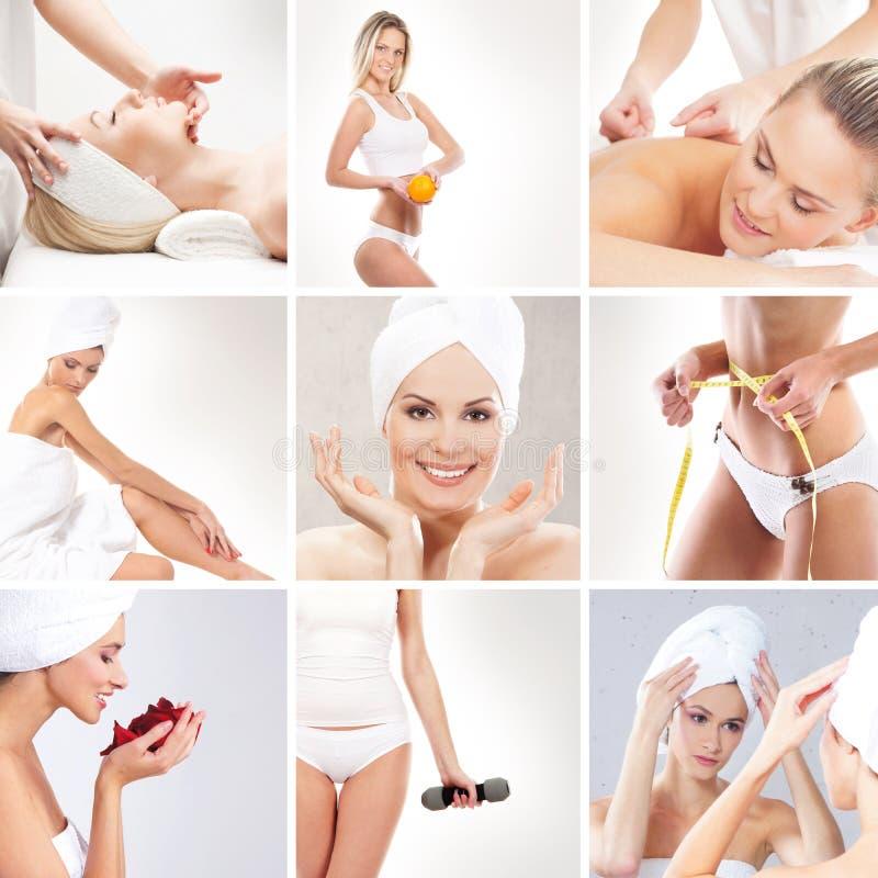 Un collage di giovani donne sulle procedure della stazione termale immagini stock libere da diritti