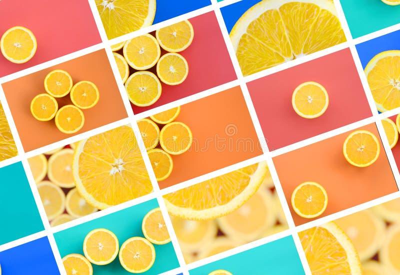 Un collage di molte immagini con le arance succose Metta di spirito di immagini illustrazione di stock