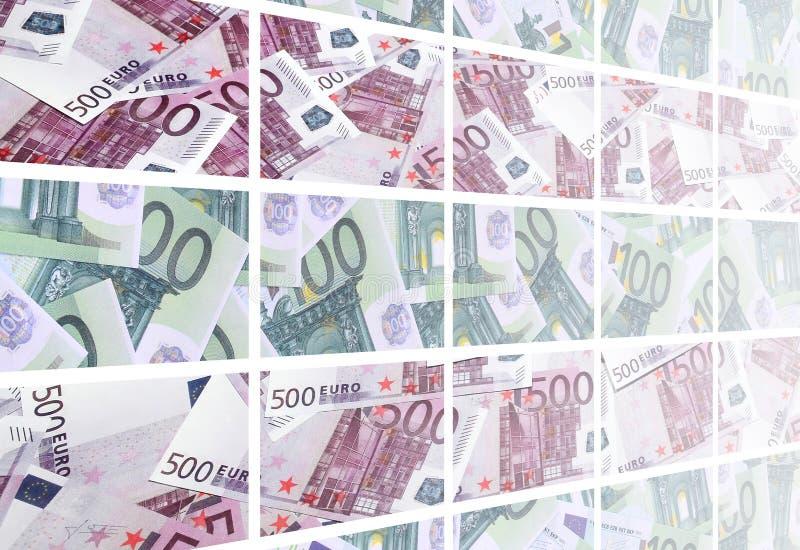 Un collage di molte immagini delle centinaia di dollari e di fatture l dell'euro illustrazione di stock