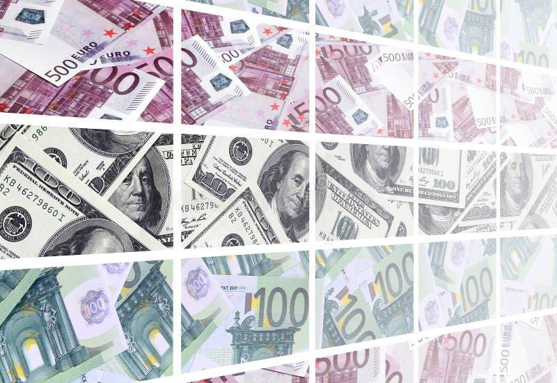 Un collage di molte immagini di euro banconote nelle denominazioni di 1 illustrazione di stock