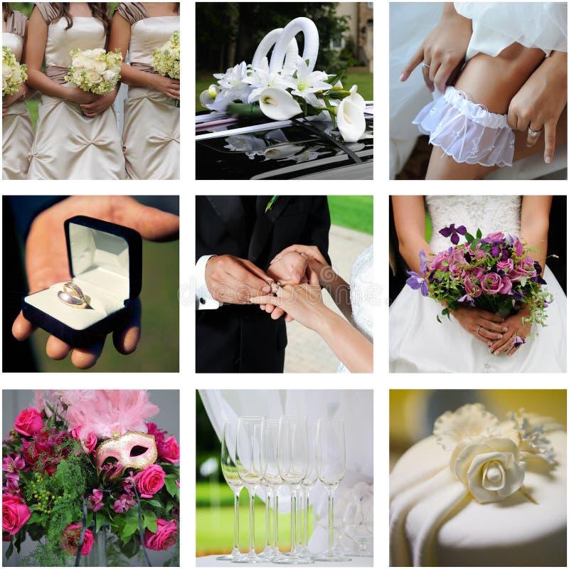 Un collage di nove foto di colore wedding fotografie stock libere da diritti