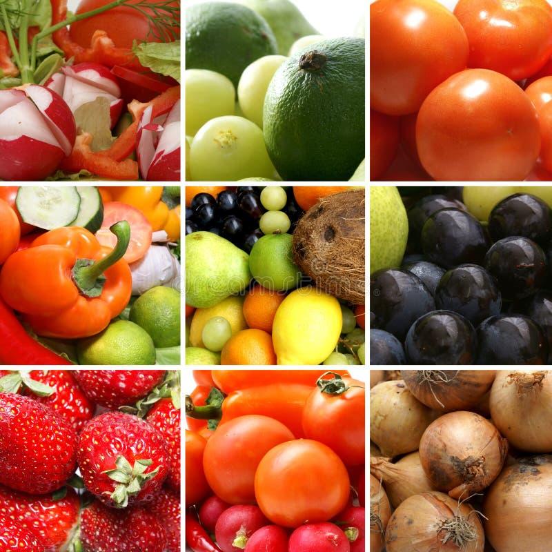 Un collage di nutrizione con molta frutta saporita immagine stock