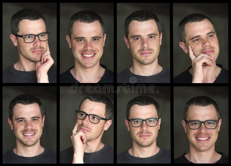 Un collage di otto ritratti di giovane unshav moro bello immagine stock libera da diritti