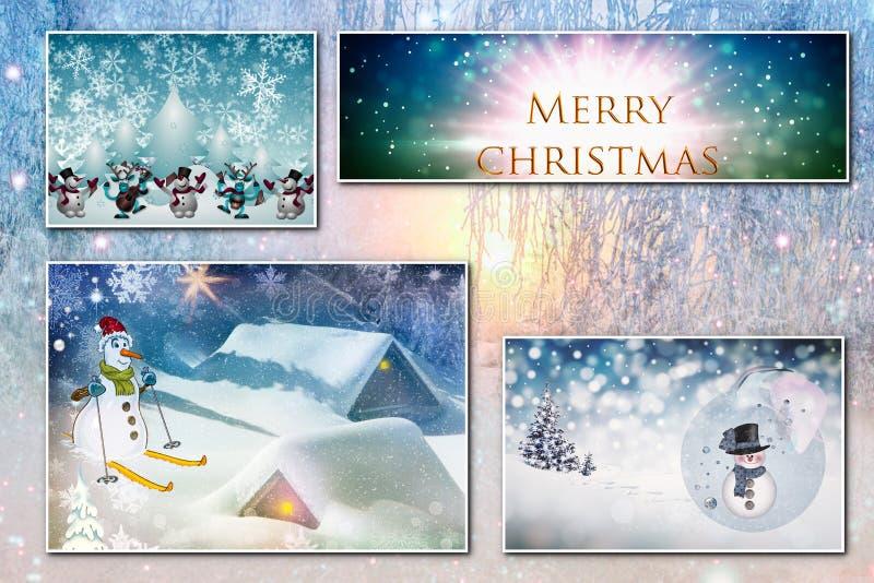 Un collage di quattro immagini di Natale sui precedenti della foresta di inverno royalty illustrazione gratis
