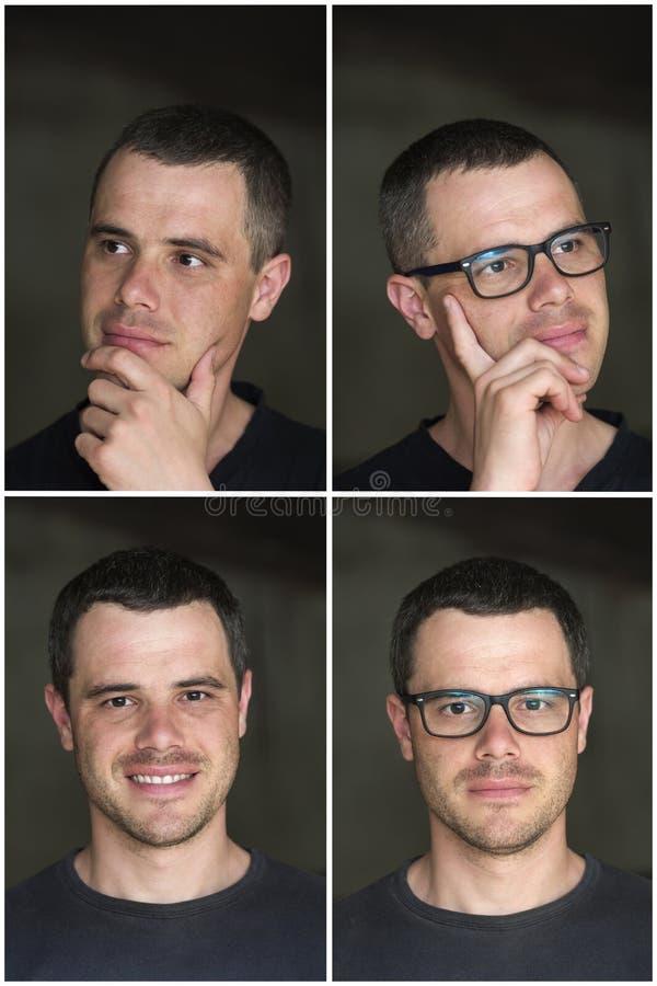 Un collage di quattro ritratti di giovane unshave moro bello immagini stock