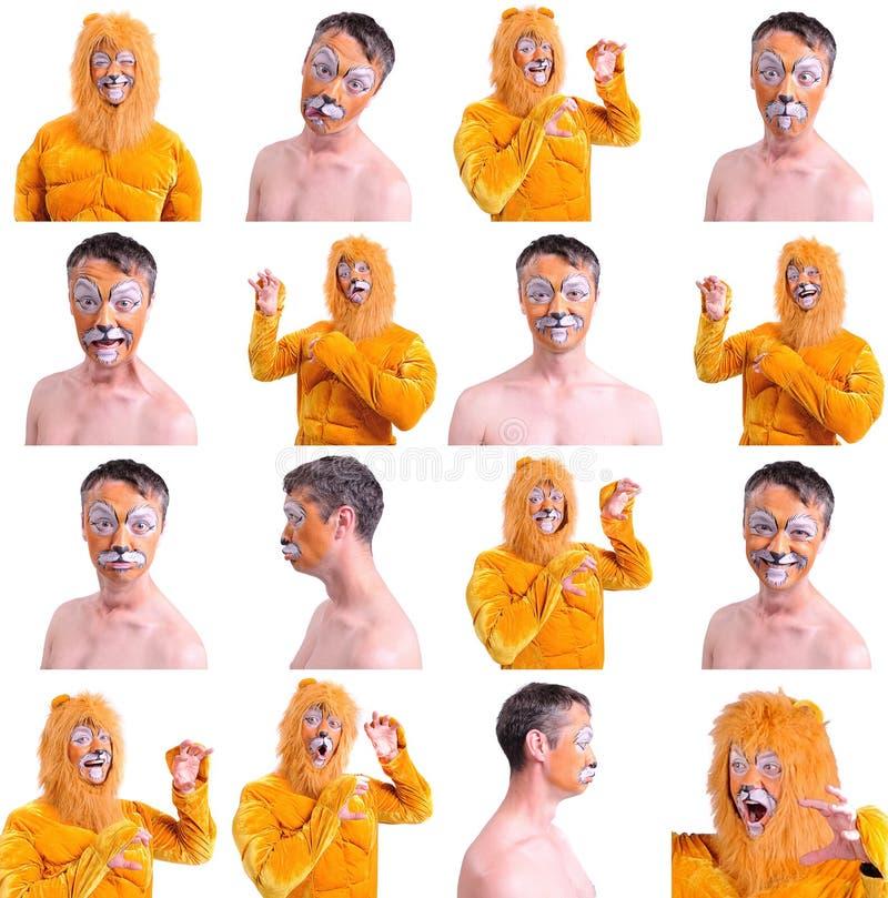 Un collage di sedici immagini isolate: chiuda sul ritratto di sorridere e di sciocchezze intorno dell'animatore in vari ruoli del fotografie stock libere da diritti