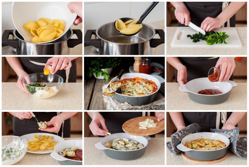 Un collage gradual de hacer Conchiglioni relleno cocido fotos de archivo