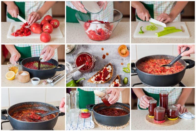 Un collage gradual de hacer el atasco del tomate imagen de archivo libre de regalías