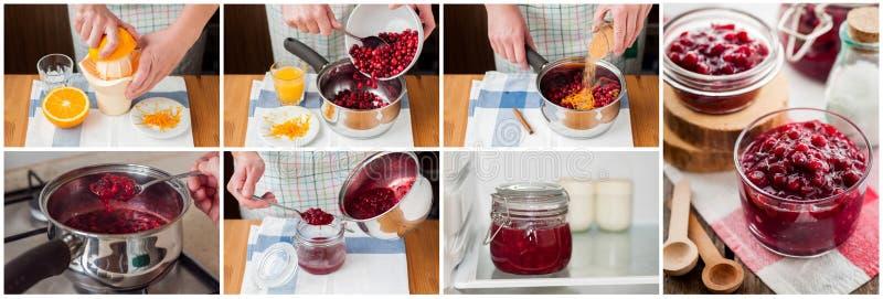 Un collage gradual de hacer la salsa de arándano imágenes de archivo libres de regalías