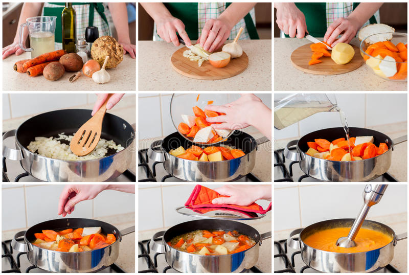 Un collage gradual de hacer zanahoria la sopa poner crema fotos de archivo libres de regalías