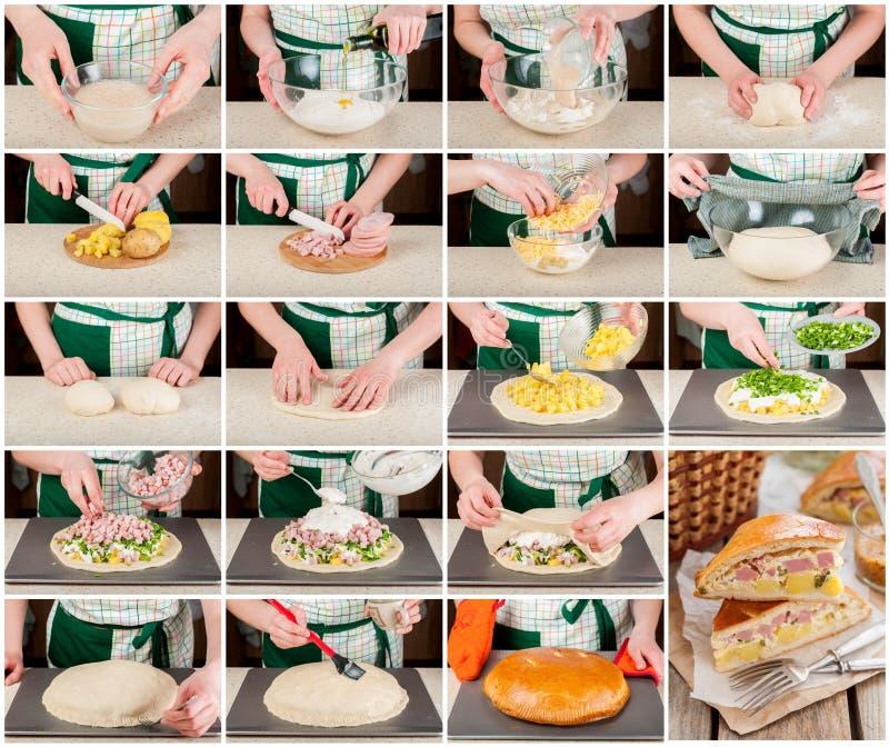 Un collage graduale della torta della patata, del prosciutto, della panna acida e del formaggio fotografia stock libera da diritti