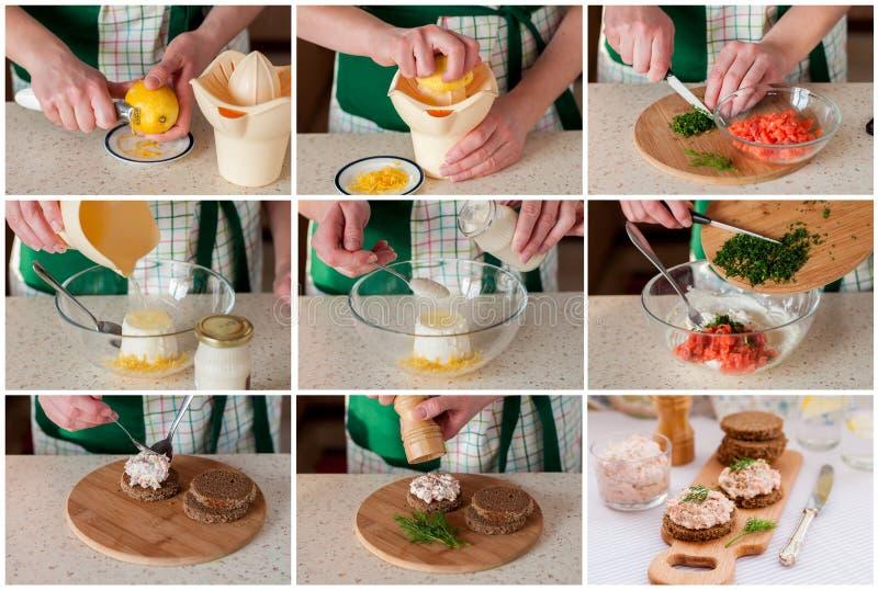 Un collage graduale di fabbricazione del Salmon Pate affumicato fotografia stock libera da diritti