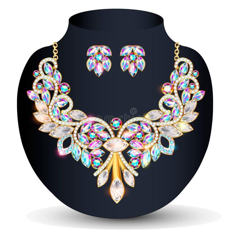un collar de oro y la boda de las mujeres de los pendientes con las piedras preciosas libre illustration