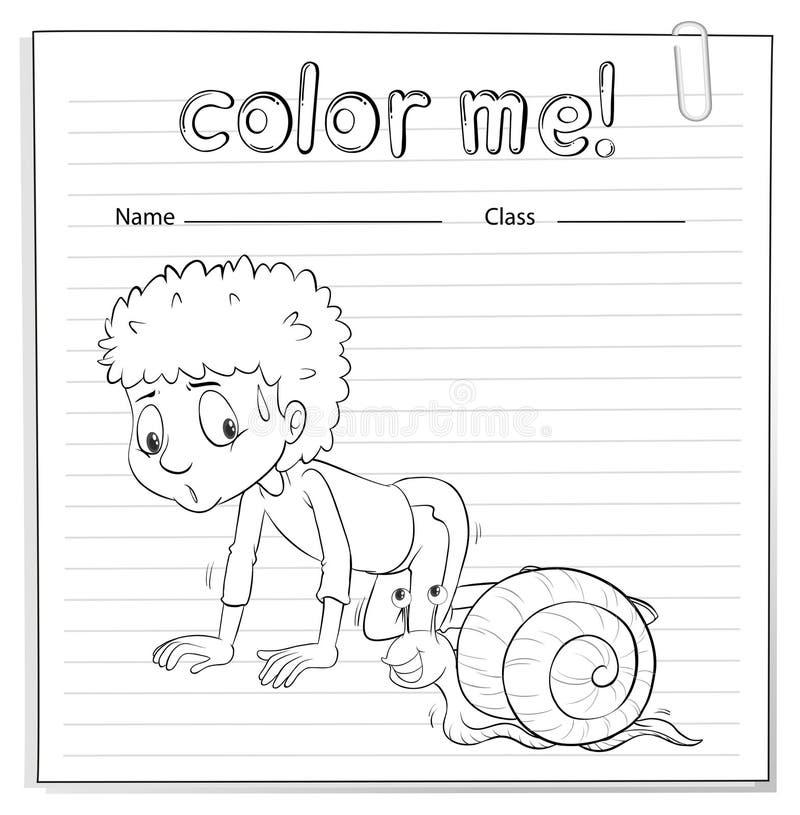 Un Color Yo Hoja De Trabajo Con Un Niño Y Un Caracol Ilustración del ...