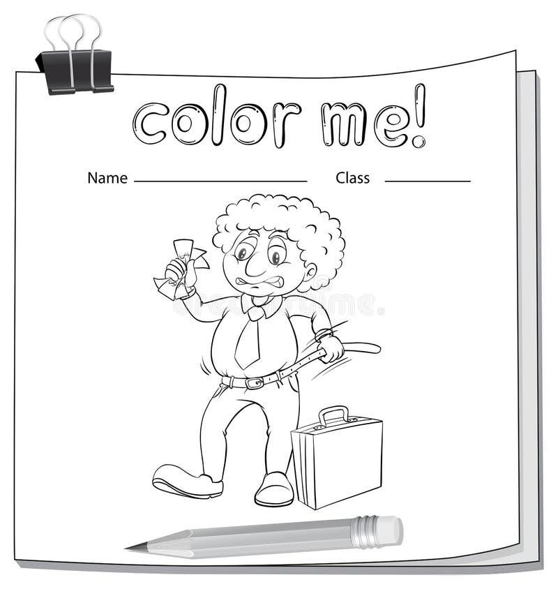 Un colore me foglio di lavoro con un uomo illustrazione di stock
