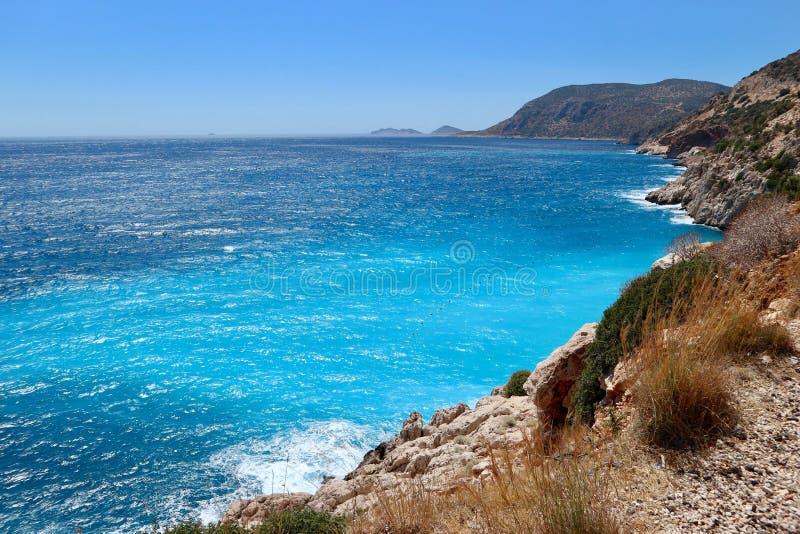 Un colpo del mare vicino alla spiaggia di Kaputas, Turchia fotografia stock libera da diritti