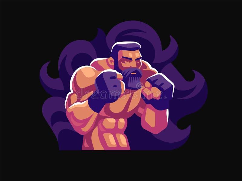 Un combatiente masculino de artes marciales mezclados stock de ilustración