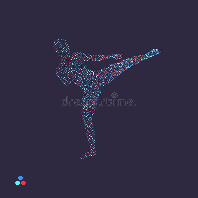 Un combattant de Kickbox se prépare à exécuter un coup de pied Silhouette d'un combattant Silhouette pointillée de la personne Il illustration libre de droits