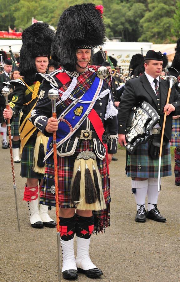 Commandant de tambour écossais, Braemar, Ecosse images stock